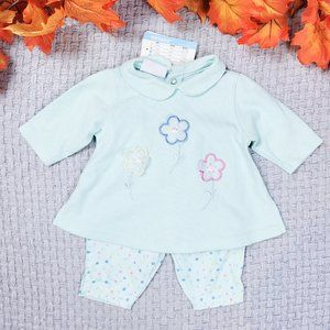 Miniwear baby girl pastel warm floral outfit set